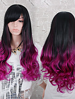 Ombre Black and Fuchsia Heat Resistant Fiber Synthetic Wig 28 Inch Fashion Long Wave with Side Bangs