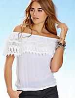 Women's Fashion Casual Lace Beteau Short Sleeve T-shirt