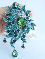 Women Accessories Silver-tone Turquoise Green Rhinestone Crystal Flower Brooch Art Deco Brooch Bouquet Women Jewelry