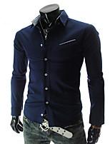 Men's Long Sleeve Shirt , Cotton Blend Casual/Work/Formal Pure