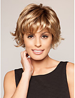 Capless High Quality Short Curly Blonde Synthetic with Full Bang