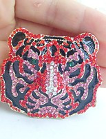Women Accessories Gold-tone Red Pink Rhinestone Crystal Tiger Brooch Art Deco Crystal Brooch Women Jewelry