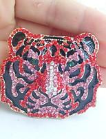 Women Accessories Gold-tone Red Pink Rhinestone Crystal Tiger Brooch Art Deco Crystal Brooch Women Jewelry