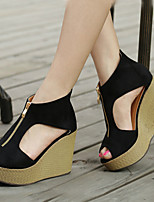 Women's Shoes  Wedge Heel Wedges/Heels/Platform/Comfort/Open Toe Sandals Casual Black/Gray