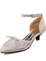 Women's Shoes Kitten Heel Pointed Toe Heels Dress Black / Beige