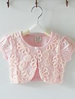 Girl's Cotton/Lace Micro-elastic Thin Short Sleeve Sweet Short Coats