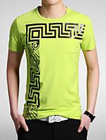 Masculino Camiseta Casual/Esporte Estampado/Cor Solida Algodão Manga Curta Masculino