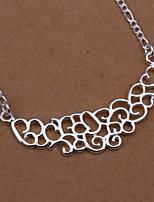 Fahion Geometric Shape Pendants Silver Plated  Figaro Necklace(White)(1Pc)