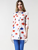 Women's Vintage Sexy Casual Print Cute Plus Sizes Inelastic ¾ Sleeve Long Shirt (Chiffon)