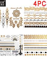 4 Pcs All Different Patterns Long Bracelet Tattoo Sticker 23x15.5CM
