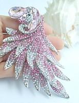 Women Accessories Silver-tone Pink Rhinestone Crystal Peacock Brooch Art Deco Crystal Brooch Women Jewelry
