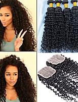 3pcs Bundles Brazilian Virgin Hair Weft With 1Pcs Lace Closure Unprocessed Deep Curly Wave #1B Hair
