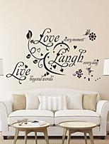 stickers muraux de style de décalques de mur amour rire mots anglais en direct&cite muraux PVC autocollants