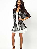 Women's Black Blouse ½ Length Sleeve Tassel