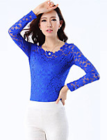 Women's Sexy Casual Lace Plus Sizes Micro-elastic Long Sleeve Regular T-shirt (Lace)