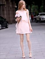 Women's Sexy Casual Cute Plus Sizes Sleeveless Above Knee Maternity Dress (Chiffon/Mesh)