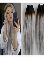 3pcs / lot brasilianische gerade reine Haar platingrau Haarverlängerung Echthaar Haarverlängerungen silbergrau Haar spinnt
