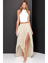 Women's Sexy/Casual Maxi Skirts , Chiffon Inelastic