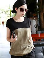 Women's Casual Color Block Round Short Sleeve Regular T-shirt