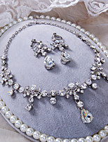 Silver Color With White Rhinestone Wedding Necklace And Ear Clip Jewelry Sets D0396AJ