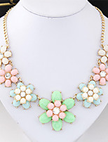 Women's European Style Fashion Candy Colored Flower Necklace