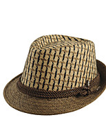 Men Vintage Casual England Plaid Jazz Hat Travel  Straw