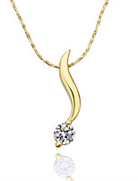 Classic Plant Shape Alloy Pendant Zircon Necklace(Rose Gold,Yellow Gold,White Gold)(1Pc)