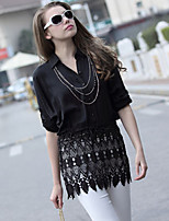 Women's Casual Lace Plus Sizes Inelastic Long Sleeve Regular Shirt (Chiffon Lace)