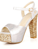 Sandals Spring Summer Fall Club Shoes PU Office & Career Party & Evening Dress Chunky Heel Sequin Red Silver Gold