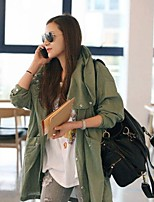 Women's Print Green Coat , Casual Long Sleeve Cotton Embroidery