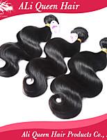 Ali produtos de cabelo rainha 6a malaio onda corpo cabelo virgem naturais pretas cabelo 3pcs / lot 100% extensões de cabelo humano