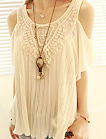 Women's Sexy Casual Lace Cute Inelastic Short Sleeve Regular Blouse (Chiffon/Lace)