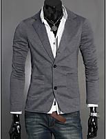 Men's Casual/Work Pure Long Sleeve Regular Blazer (Cotton Blends)