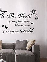 Wall Stickers Wall Decals Style For The World English Words & Quotes PVC Wall Stickers