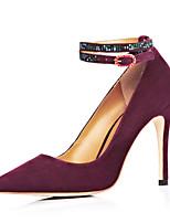 Women's Shoes Cashmere Stiletto Heel Heels / Pointed Toe Heels Wedding / Dress Black / Burgundy
