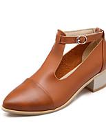 Women's Shoes Chunky Heel Pointed Toe Pumps/Heels Dress Black/Brown/Silver/Beige