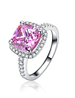 Sterling Silver 7*7mm 2CT SONA Pink Diamond Ring Engagement Jewelry Cushion Cut Halo Style Semi Mount Platinum Plated