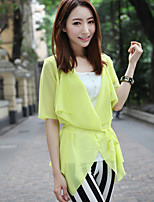 Women's Sexy/Casual Inelastic ½ Length Sleeve Regular Blouse (Chiffon)
