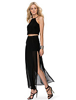 Women's Sexy Casual Maxi Plus Sizes Inelastic Translucent Maxi Skirts (Chiffon)
