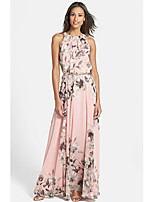 EILA Women's Vintage/Sexy/Beach/Print/Party Round Sleeveless Dresses (Chiffon)