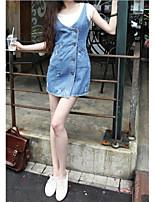Women's Casual Round Sleeveless Dresses (Denim)