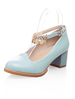 Women's Heels Spring Summer Fall Winter Club Shoes PU Office & Career Dress Casual Chunky Heel Block Heel Buckle ChainBeige Blue Blushing