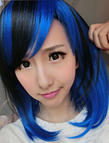 Foreign Trade Short Hair Inclined Bang Dark Blue Gradient Cos Anime Fashion Fluffy Wig