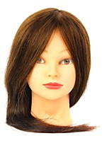 Indian Human Hair Salon Female Mannequin Head with Make-up Color Brown