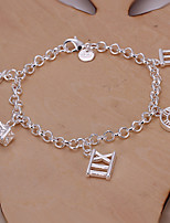 Siver Plated Roman Numbers Copper Chain Bracelet