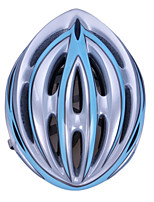 High-Breathability PC+EPS Black Bicycle Helmet With Detachable Sunvisor (21 Vents) - Sky Blue + Silver