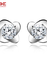 NBE Sterling Silver/Zircon Four Leaf Clover Earring Stud Earrings Wedding/Party/Daily/Casual 1pair