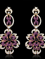 Lady's Purple Crystal Zircon Chandelier Drop Earrings for Wedding Party Jewelry