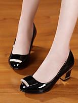 Chaussures Femme Similicuir Gros Talon Talons/A Plateau/Bout Arrondi/Bout Fermé Escarpins / Talons Décontracté Noir/Beige