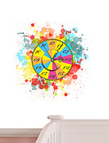 Modern/Contemporary Houses 3D Wall Clock Scrawl Colors  Indoor Clock
